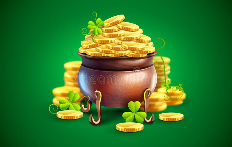 Pot with gold coins for Saint Patricks Day Holiday. Vector illustration. stock photos