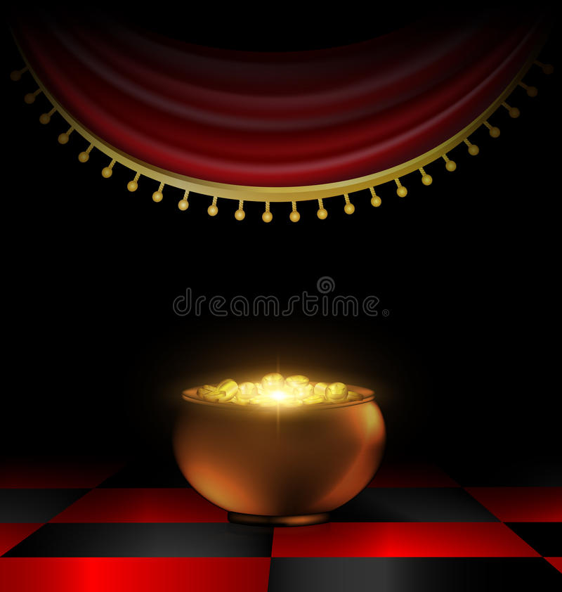 Pot of gold in the dark stock illustration