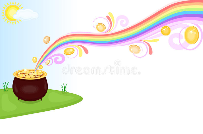 Pot of gold at the end of rainbow royalty free illustration