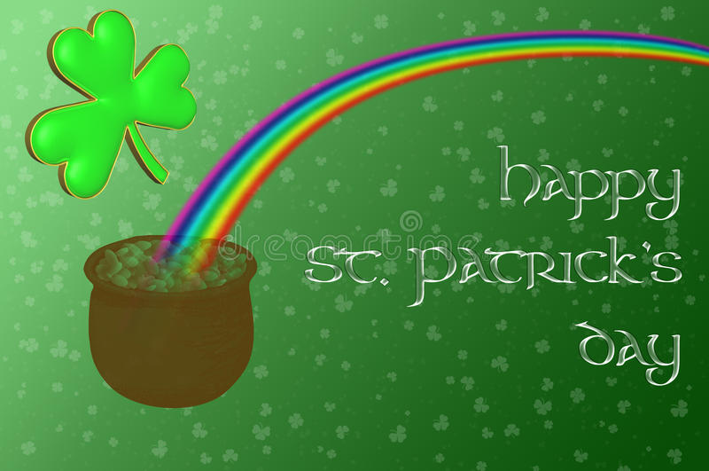 A pot of gold at the end of the rainbow. With a Happy Saint Patrick's day message displayed on a green background royalty free illustration