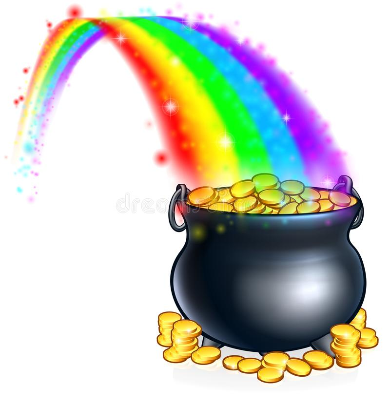 Pot of Gold at the End of the Rainbow stock illustration