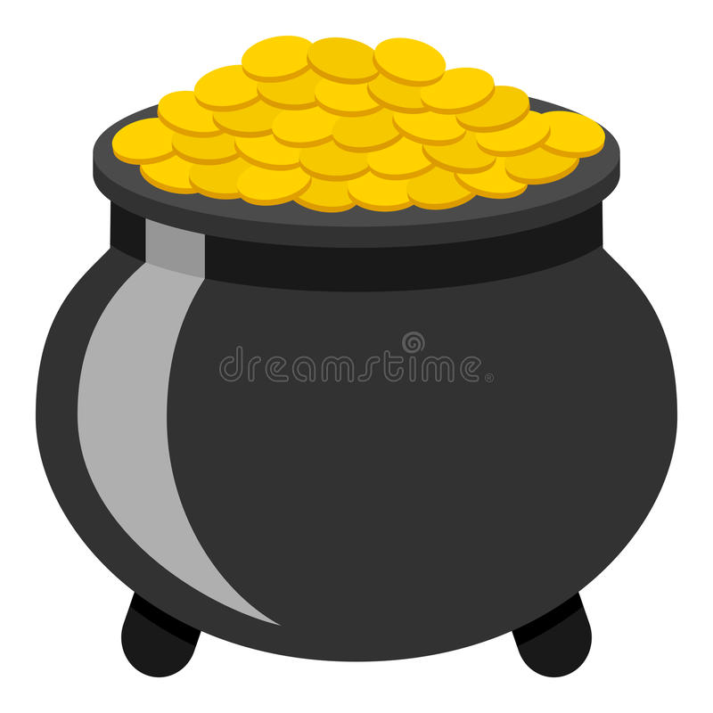 Pot of Gold Flat Icon Isolated on White. The legendary pot of gold flat icon, isolated on white background. Eps file available royalty free illustration