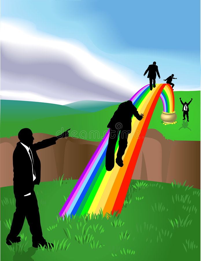 "Pot of Gold Rainbow. Conceptual piece. Business people striving to reach a ""Pot of Gold at the end of the Rainbow"". No meshes used. On separate stock illustration"