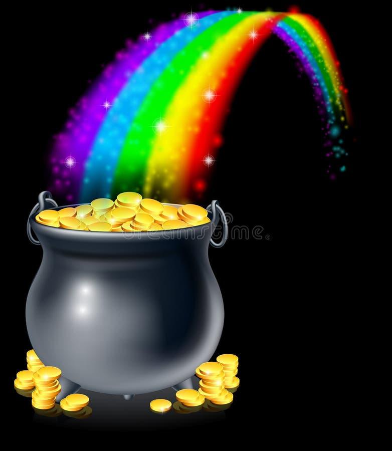 Pot of gold and rainbow. A cauldron or a pot full of gold coins at the end of the rainbow. Pot of gold at the end of the rainbow concept vector illustration