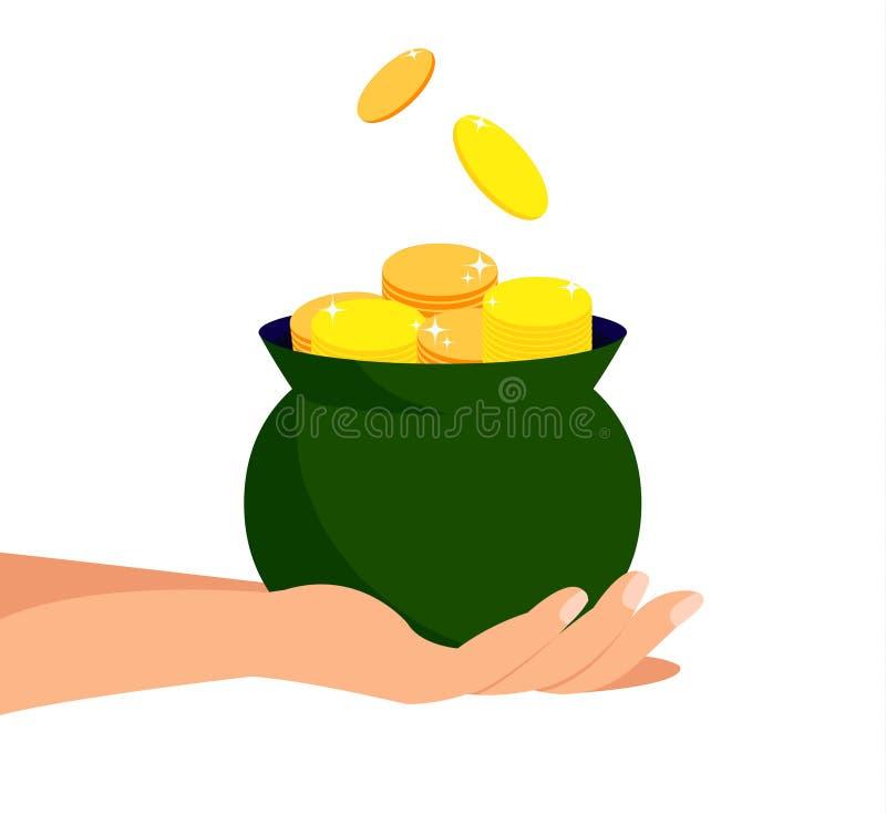 Pot of Gold, Savings, Treasure Flat Illustration stock illustration