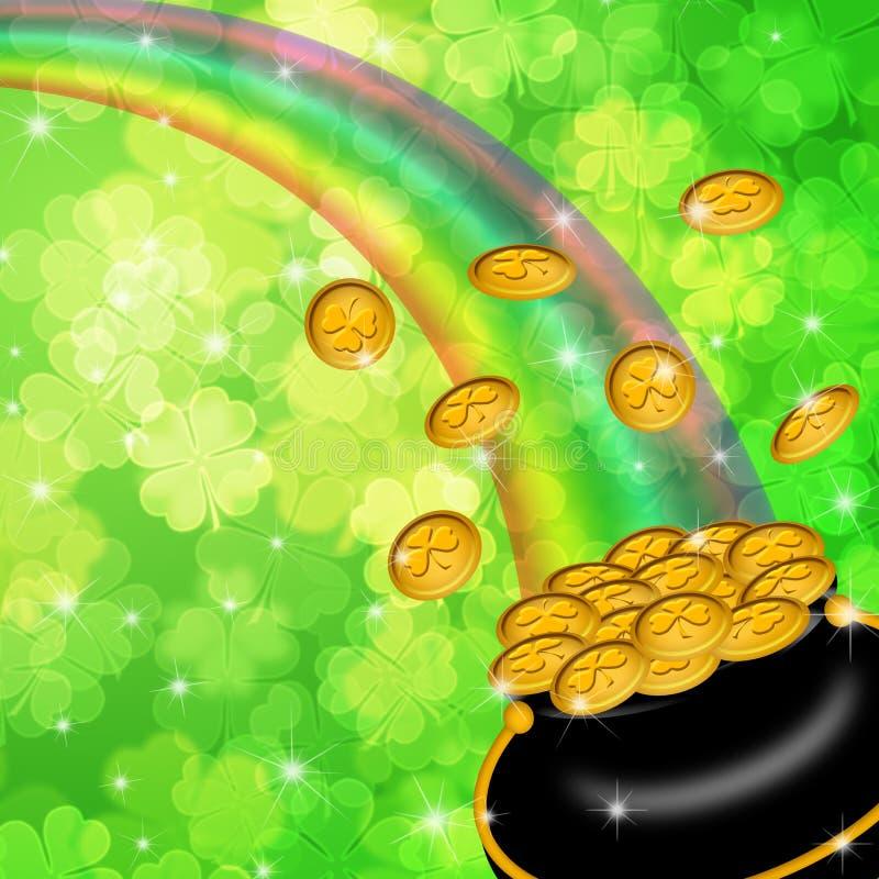 Pot Of Gold Shamrock Blurred Background Royalty Free Stock Image
