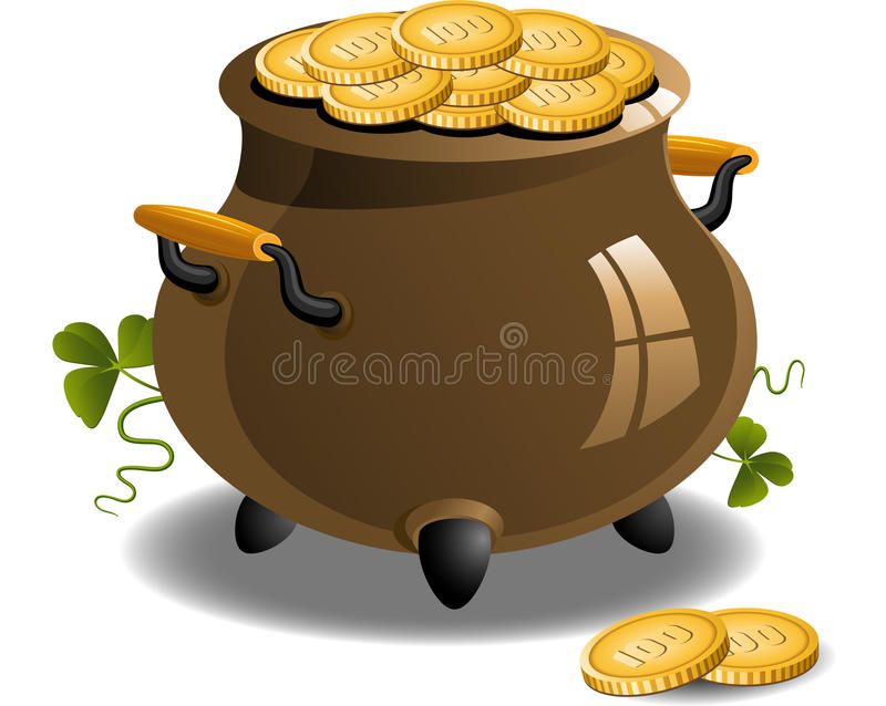 Pot Of Gold (St. Patricks Day) Stock Vector
