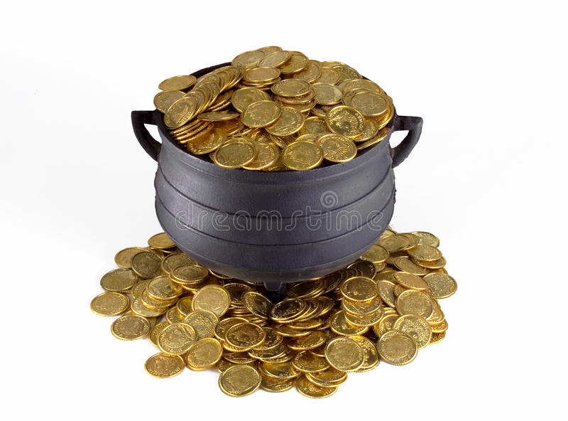 POT OF GOLD. On White Background, Wealth Management, Financial Planning, Retirement Fund stock images
