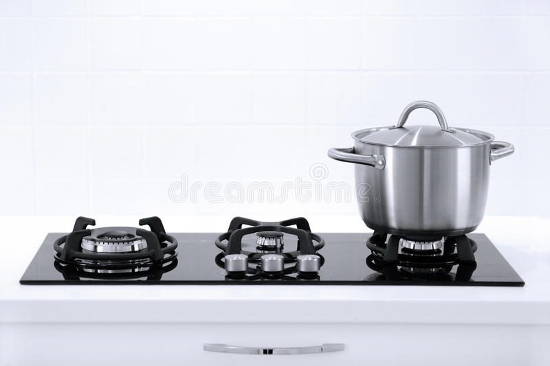 Pot in the kitchen royalty free stock image