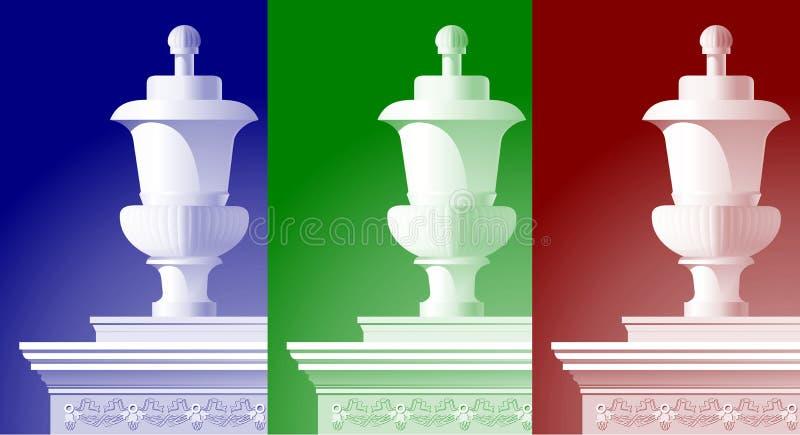 Pot in kleurenverlichting stock illustratie