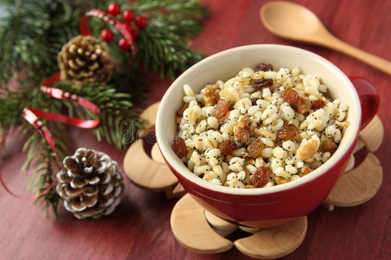 Pot with kutia – traditional Christmas sweet meal. In Ukraine, Belarus and Poland stock photo