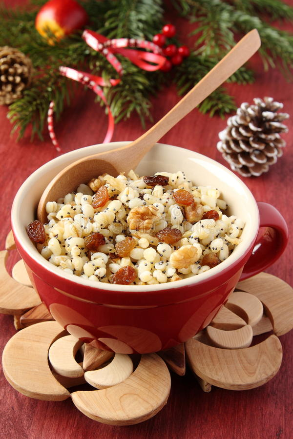 Pot with kutia – traditional Christmas sweet meal. In Ukraine, Belarus and Poland stock image