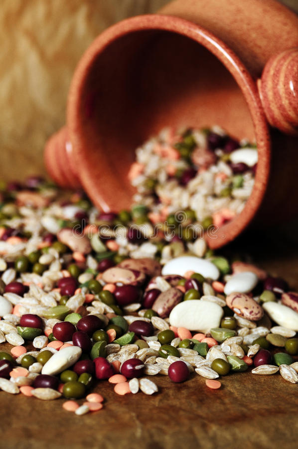 Pot of legumes. Still life of dried legumes and cereals stock photos