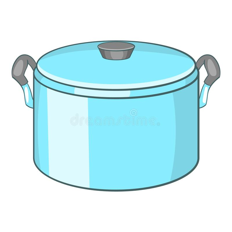 Pot with lid icon, cartoon style. Pot with lid icon. Cartoon illustration of pot with lid icon for web royalty free illustration