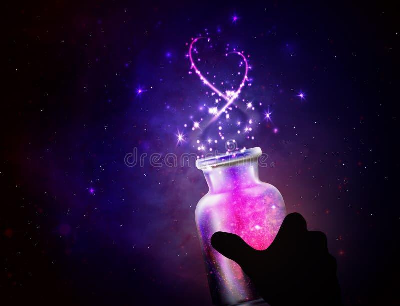Pot magique avec des rêves illustration stock