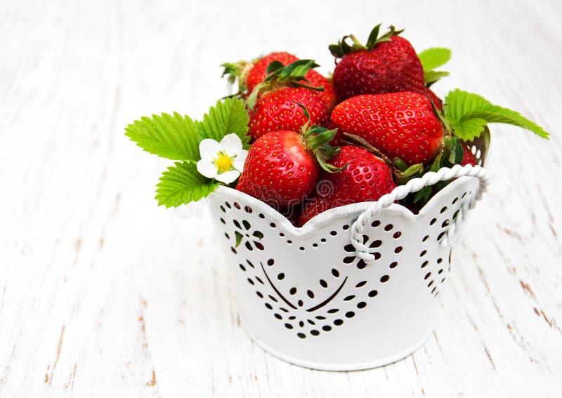 Pot met aardbeien stock foto's