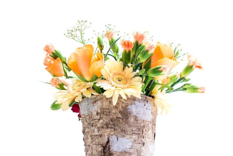 Pot met een bloemboeket stock foto's