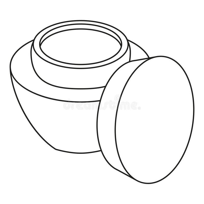 Pot ouvert noir et blanc de crème de visage de schéma illustration de vecteur