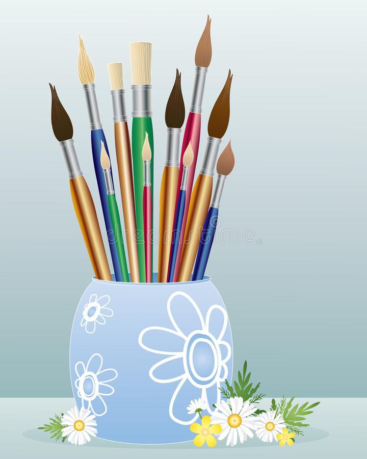 Pot of paintbrushes stock illustration