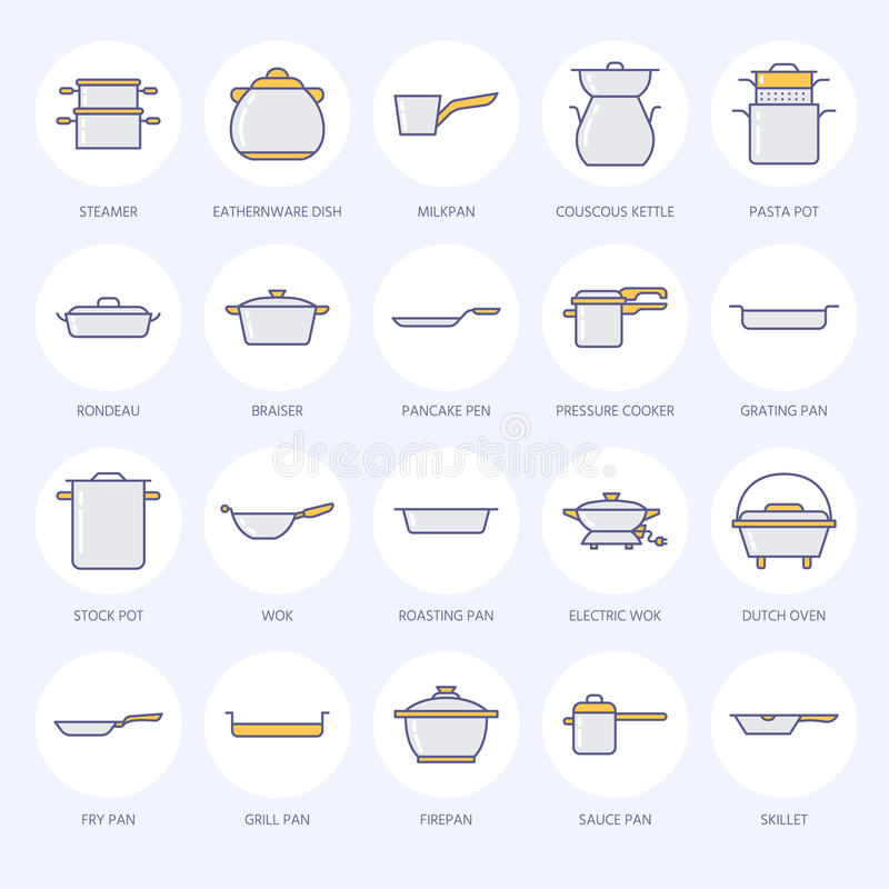 Pot, Pan And Steamer Flat Line Icons. Restaurant