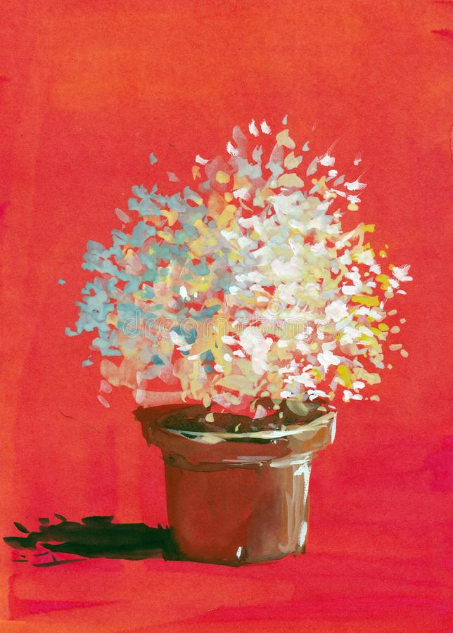 Pot plaint flower red background watercolor gouache acrylic hand painted artwork royalty free illustration