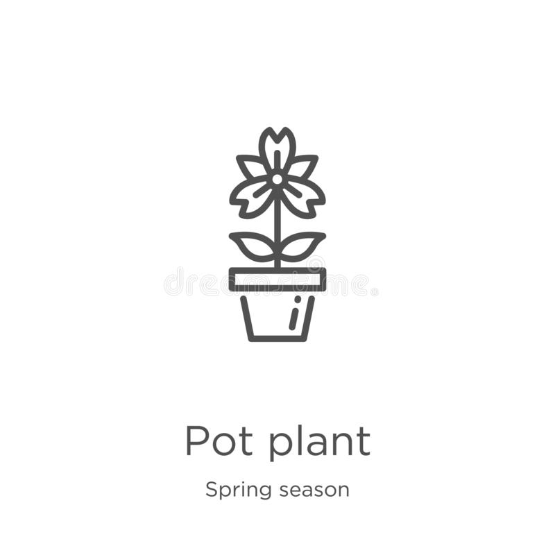 Pot plant icon vector from spring season collection. Thin line pot plant outline icon vector illustration. Outline, thin line pot. Pot plant icon. Element of stock illustration