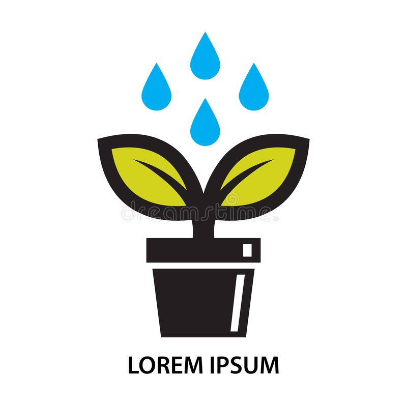 Pot plant leaf and water drop icon stock illustration