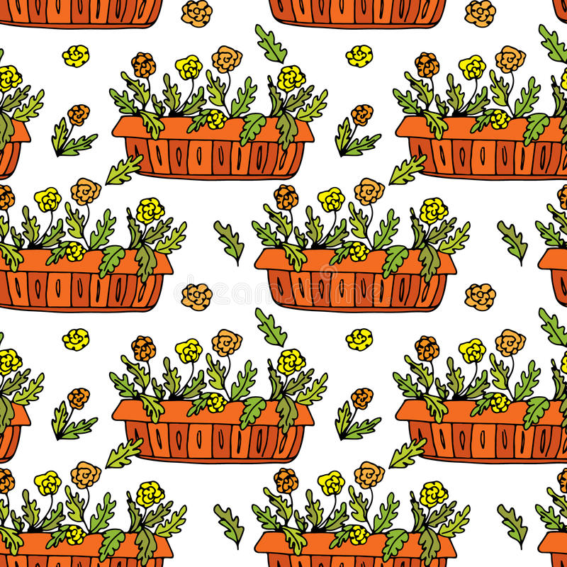 Pot plants seamless pattern, hand-drawn design elements. Vector illustration royalty free illustration