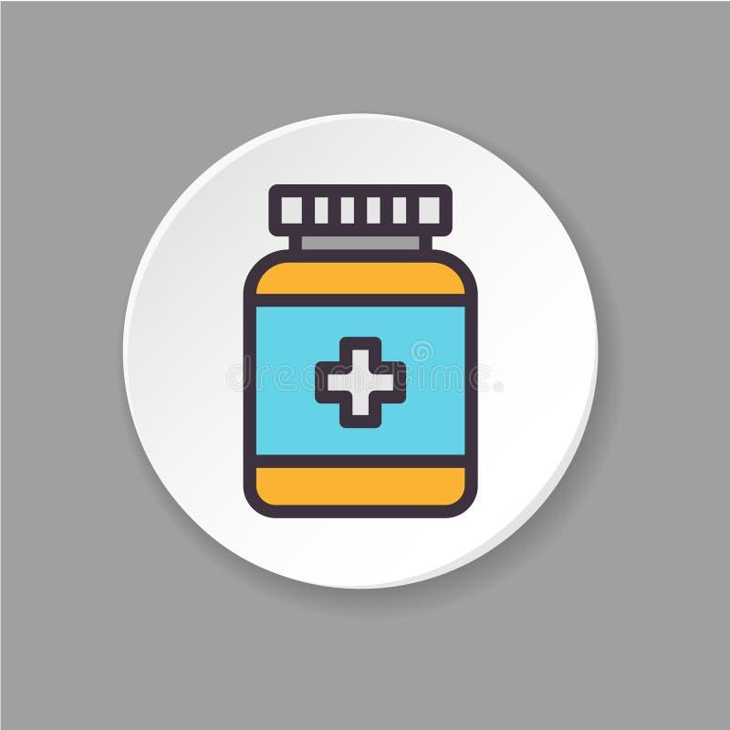 Pot plat d'icône de pilules Calmants de concept illustration stock