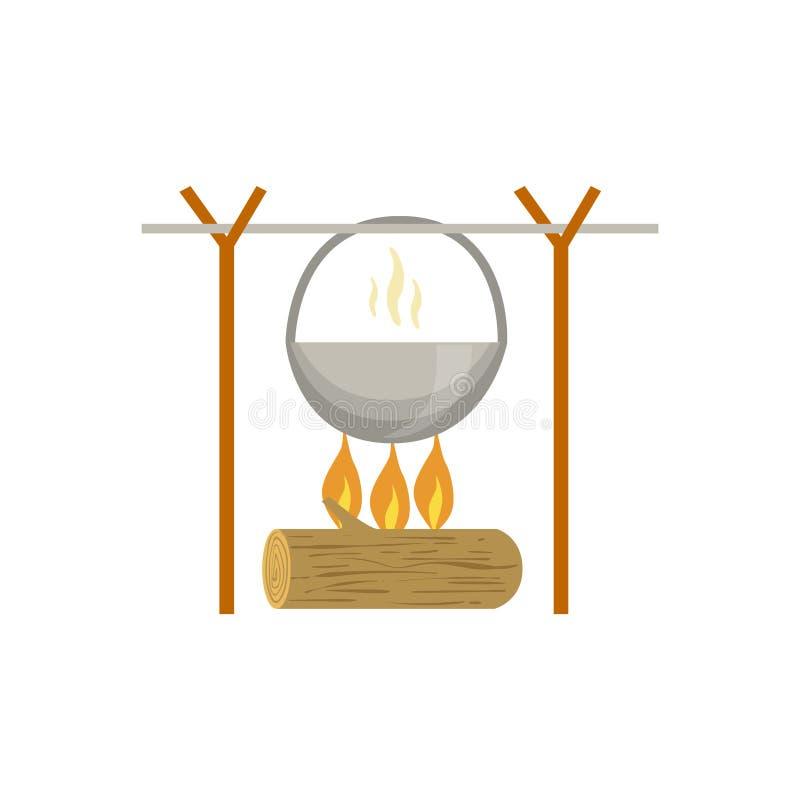 Pot réchauffant sur le feu de camp illustration de vecteur