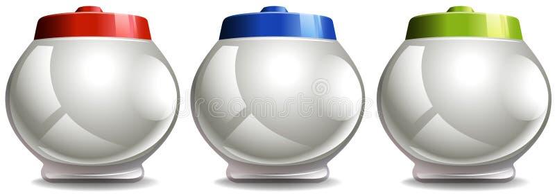 Pot rond avec des couvercles dans trois couleurs illustration libre de droits