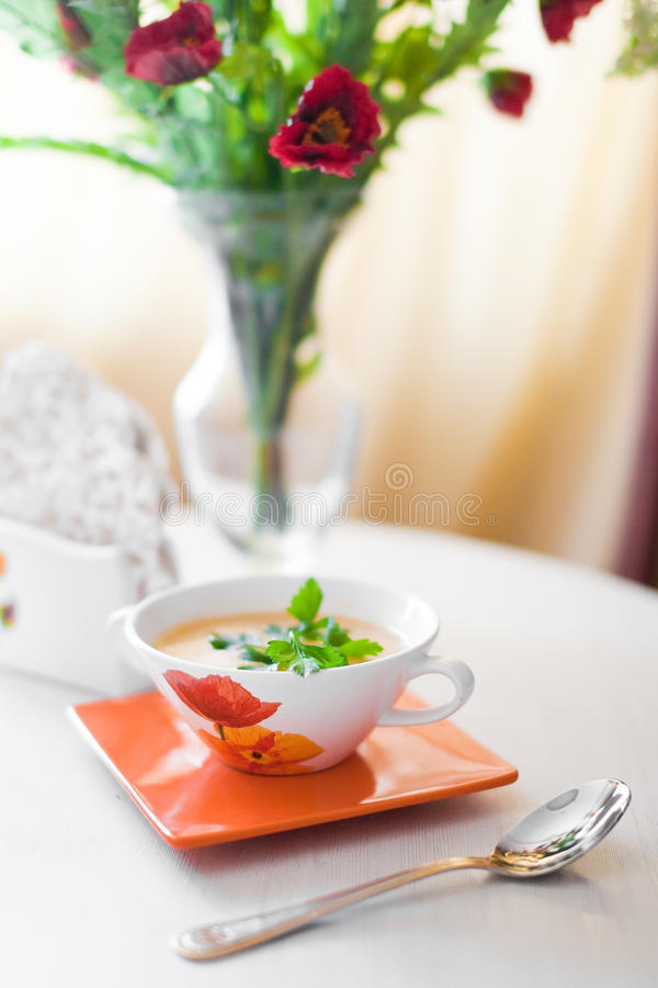 Pot Of Soup On The Table Royalty Free Stock Photo