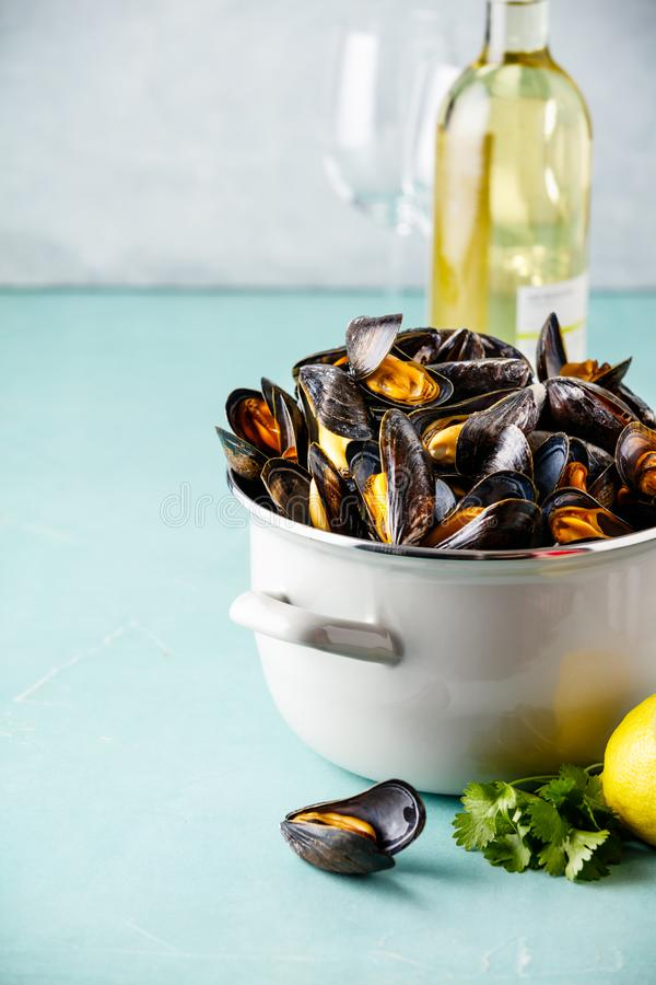 Pot of steamed mussels with lemon, herbs and white wine on blue background stock images