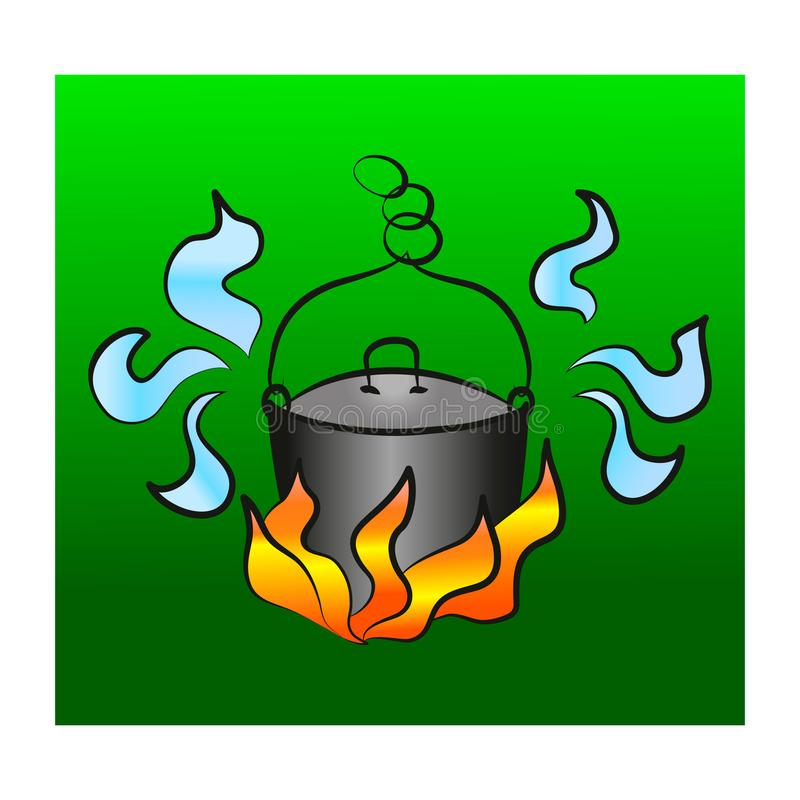 Pot sur le feu de camp illustration stock