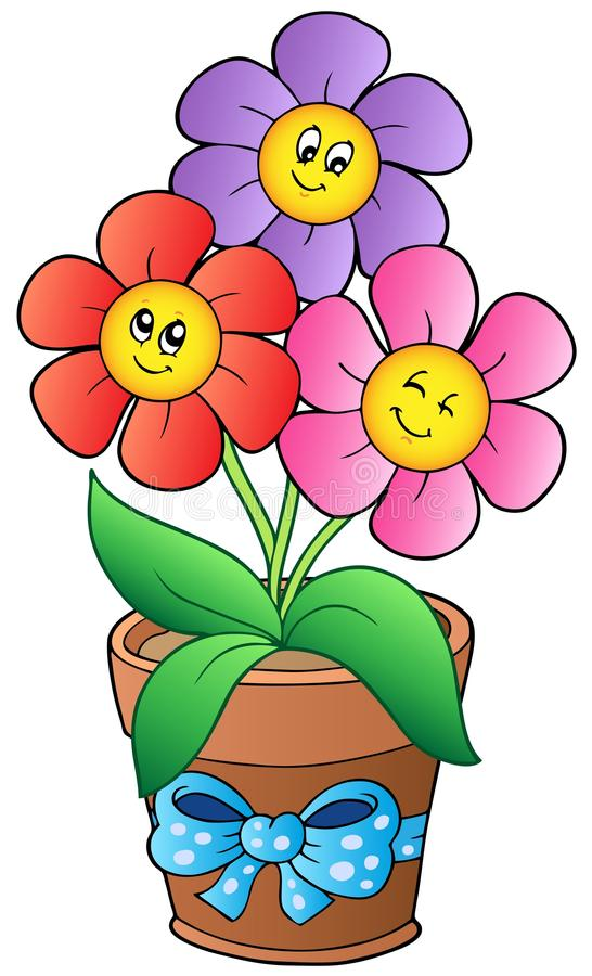 Pot with three cartoon flowers vector illustration