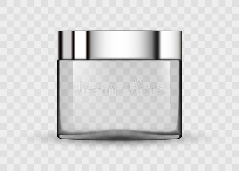 Pot transparent en verre pour la crème cosmétique illustration libre de droits