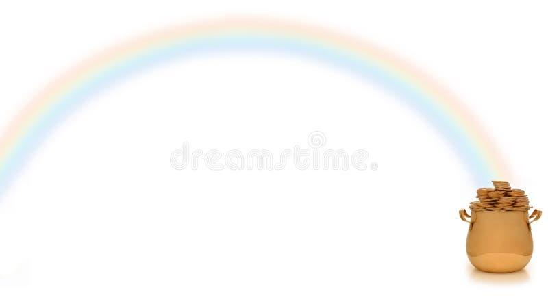 Pot van goud en regenboog stock afbeelding