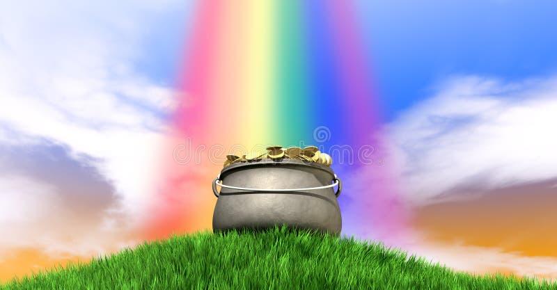 Pot van Goud en Regenboog op Grasrijke Heuvel stock foto's