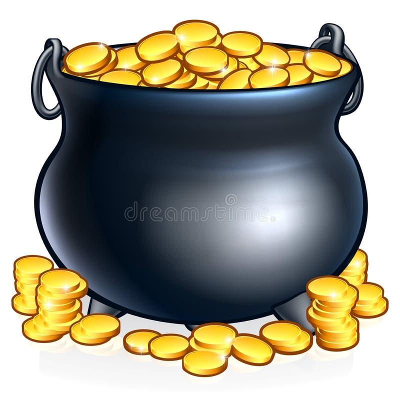Pot van gouden muntstukken stock illustratie