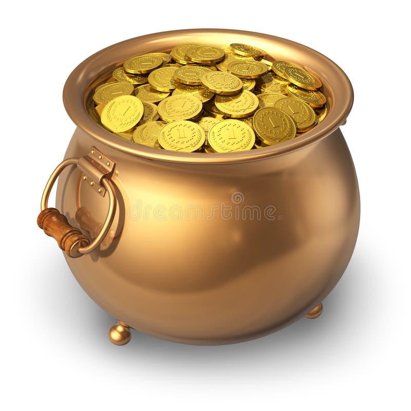 Pot van gouden muntstukken royalty-vrije illustratie