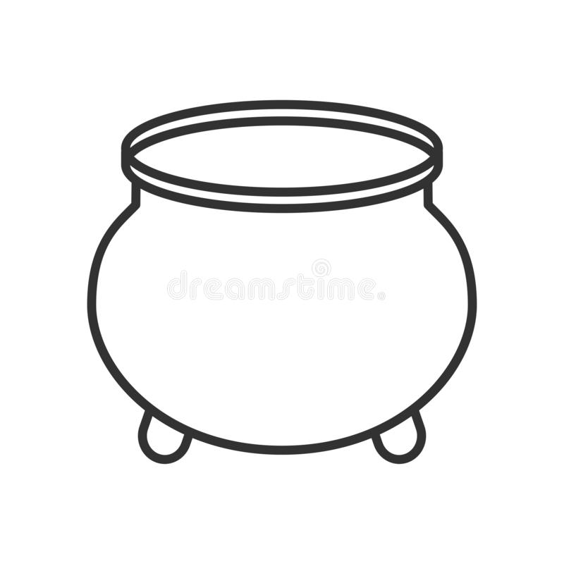 Pot van Gouden Overzichts Vlak Pictogram op Wit vector illustratie