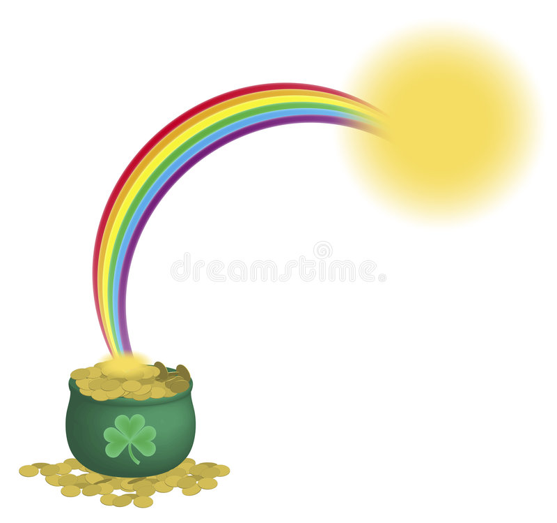 Pot van Gouden Regenboog 2 stock illustratie