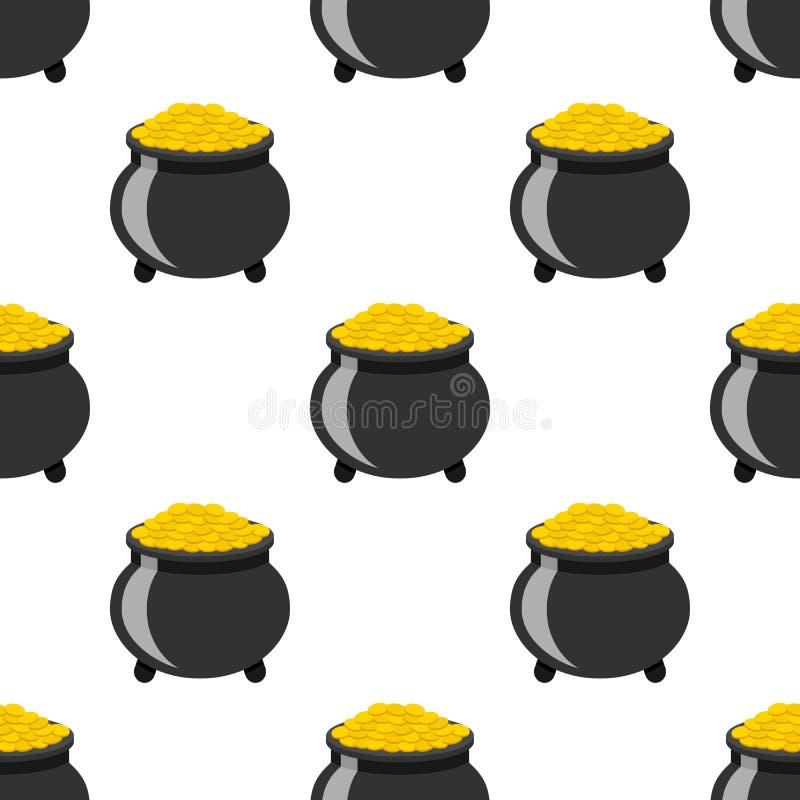 Pot van Gouden Vlak Pictogram Naadloos Patroon vector illustratie