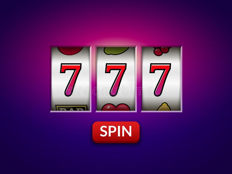 Pot 777 van het gokautomaatcasino gelukkige vectorrotatiespel het gokken achtergrond royalty-vrije illustratie