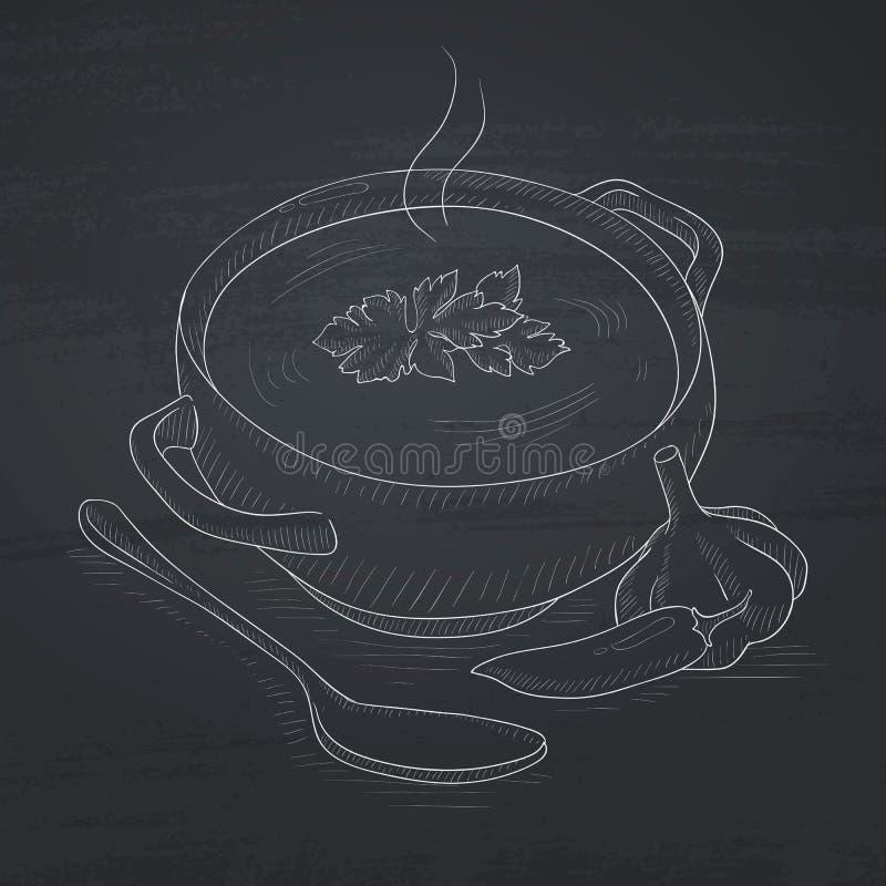Pot van hete soep royalty-vrije illustratie