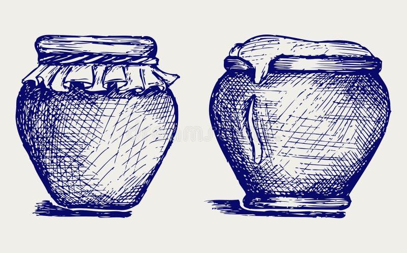 Download Pot van honing vector illustratie. Illustratie bestaande uit blauw - 29506540