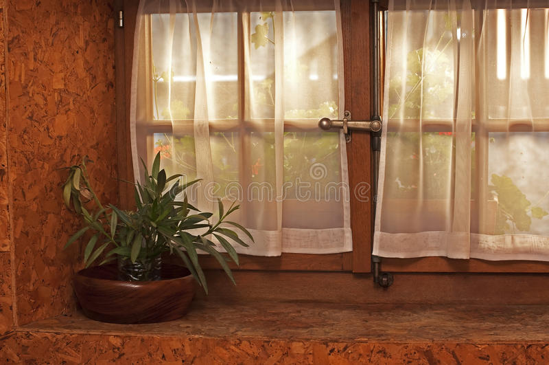 Pot and window stock photography