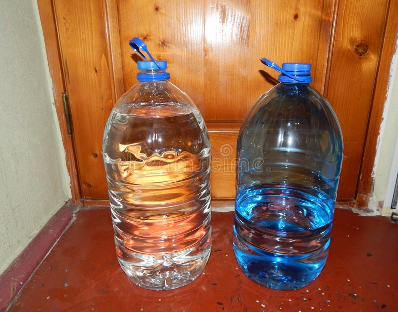 Potable water bottles are. Standing royalty free stock photos