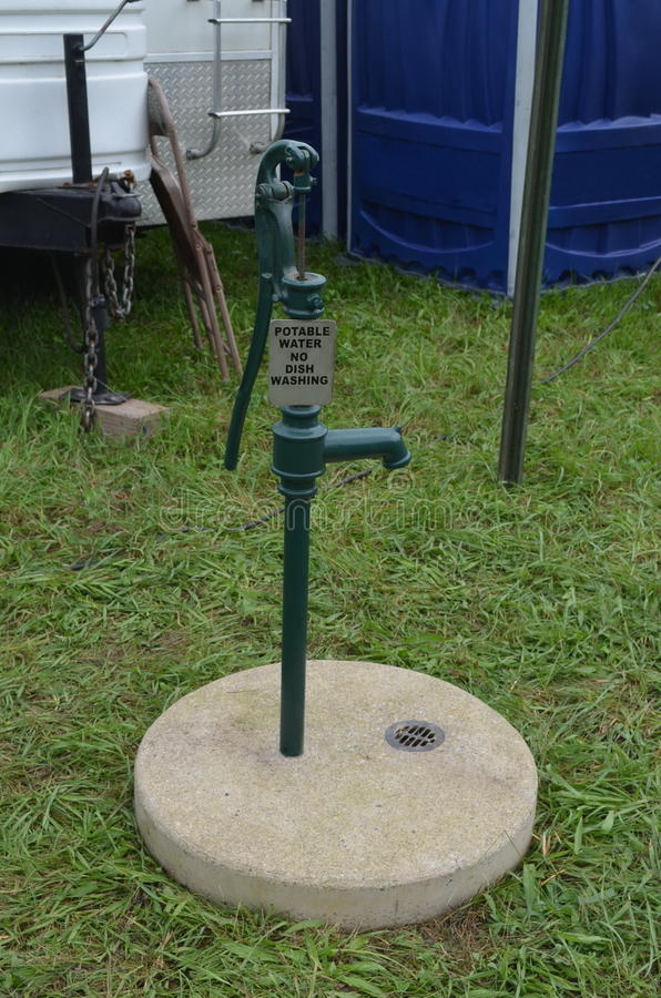 Potable Water Pump. In campground at the Wheatland Music Festival, Remus, Michigan royalty free stock photography