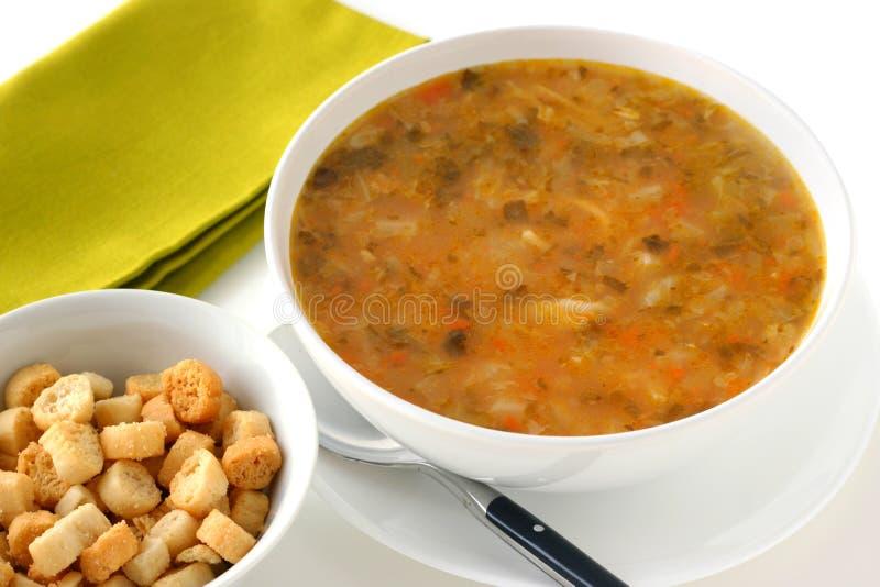 Potage aux légumes avec des croûtons images stock
